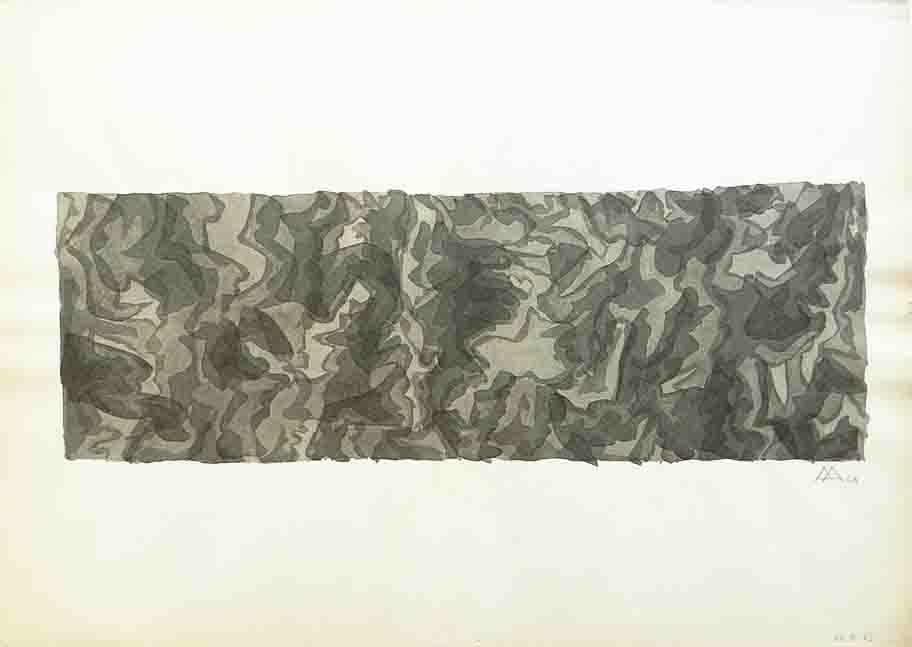 ALBERT AYME - Aquarelle Monochromatique - Une morphogenèse - 1962
