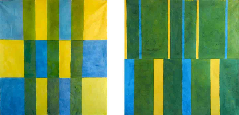 ALBERT AYME - Paradigme du Bleu et Jaune - Toiles Libres - 1975